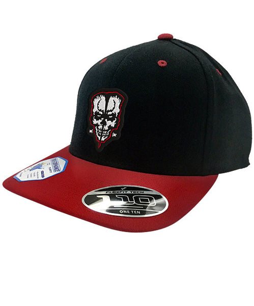 DOYLE 'FIEND' flat bill snapback hockey cap in black with red brim