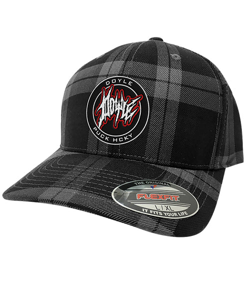DOYLE WOLFGANG VON FRANKENSTEIN 'DOYLE RULES' plaid hockey cap in grey and black plaid