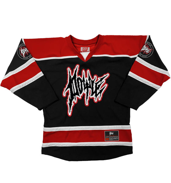 DOYLE WOLFGANG VON FRANKENSTEIN 'DOYLE RULES' hockey jersey in black, red, and white front view