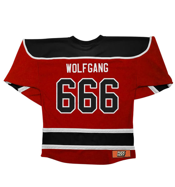 DOYLE WOLFGANG VON FRANKENSTEIN 'DOYLE RULES' hockey jersey in red, black, and white back view