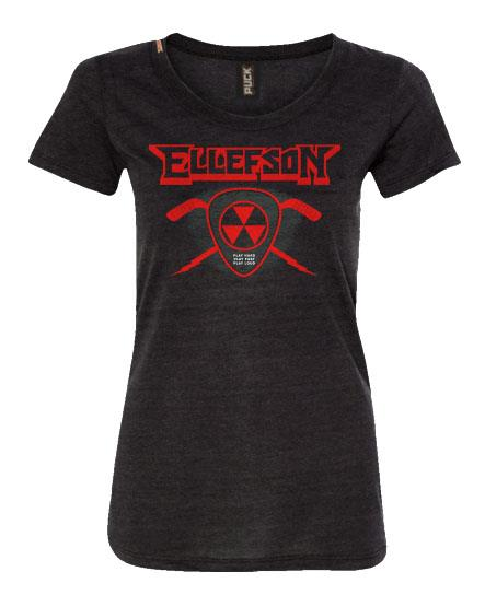 DAVID ELLEFSON 'STICK AND PICK' women's short sleeve hockey t-shirt in charcoal black