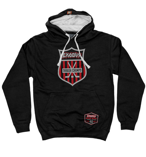 EXODUS '40TH ANNIVERSARY' pullover colorblock hockey hoodie in black/heather grey