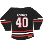 EXODUS '79 TO 19' hockey jersey in black, red, and white back view