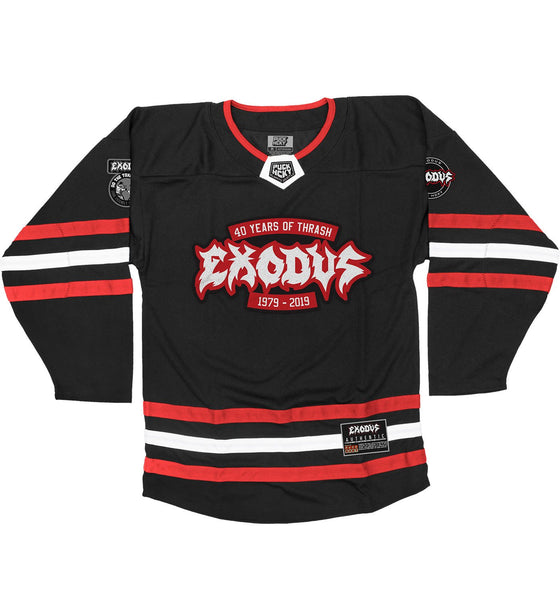 EXODUS '79 TO 19' hockey jersey in black, red, and white front view