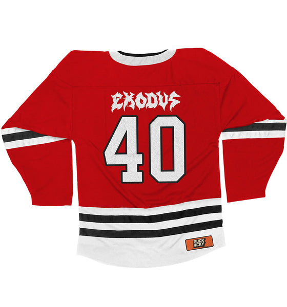 EXODUS '79 TO 19' hockey jersey in red, white, and black back view