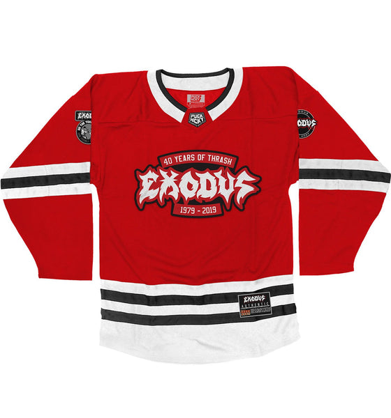 EXODUS '79 TO 19' hockey jersey in red, white, and black front view