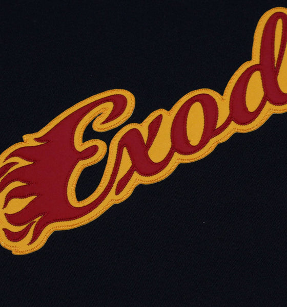 EXODUS 'BONDED BY BLOOD' deluxe hockey jersey in black, red, and gold close up