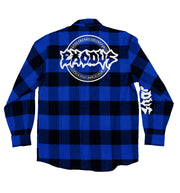 EXODUS 'BONDED BY PUCK' hockey flannel in blue plaid back view