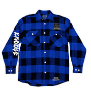 EXODUS 'BONDED BY PUCK' hockey flannel in blue plaid front view