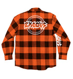 EXODUS 'BONDED BY PUCK' flannel in orange plaid back view