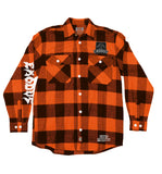 EXODUS 'BONDED BY PUCK' flannel in orange plaid front view