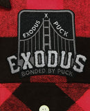 EXODUS 'BONDED BY PUCK' flannel in red plaid patch close up