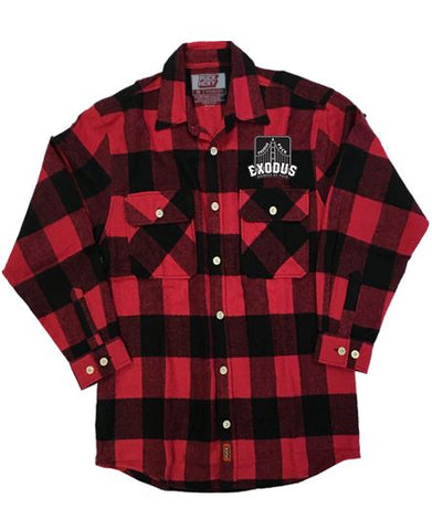 EXODUS 'BONDED BY PUCK' HOCKEY FLANNEL (orange plaid)
