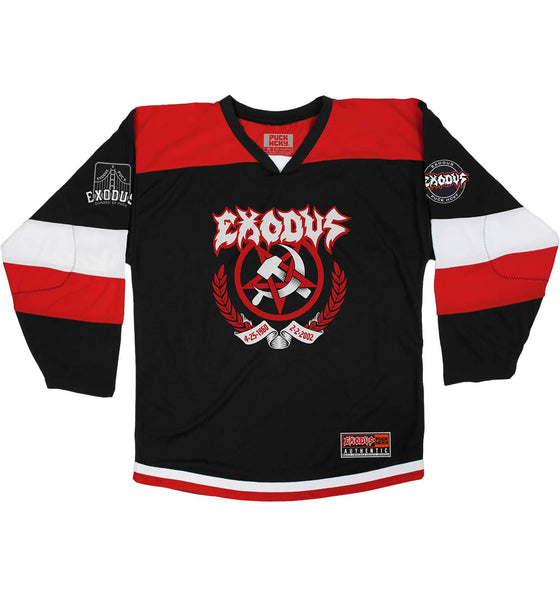 EXODUS 'BONDED FOREVER 2.0' hockey jersey in black, red, and white front view