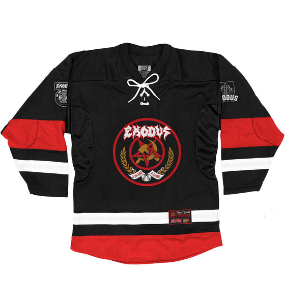 EXODUS 'BONDED FOREVER' hockey jersey in black, red, and white front view