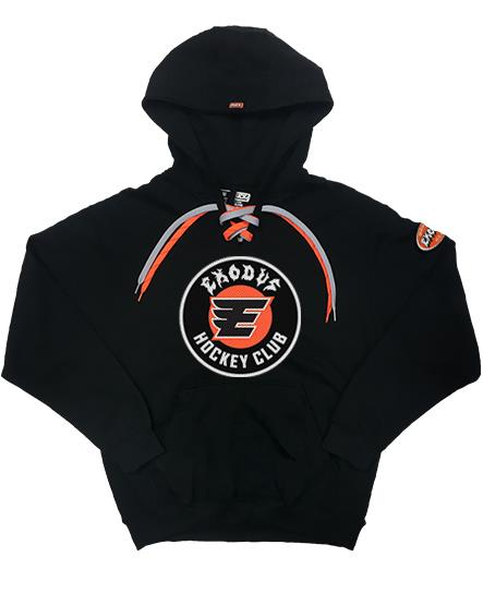 EXODUS 'FABULOUS DISASTER' pullover hockey hoodie in black with orange and silver laces