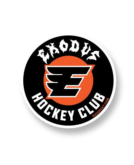 EXODUS 'FABULOUS DISASTER' hockey sticker in the style of the Philadelphia flyers