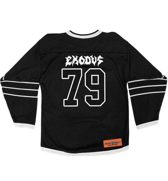 EXODUS 'GOOD FRIENDLY VIOLENT FUN' deluxe hockey jersey in black and white back view