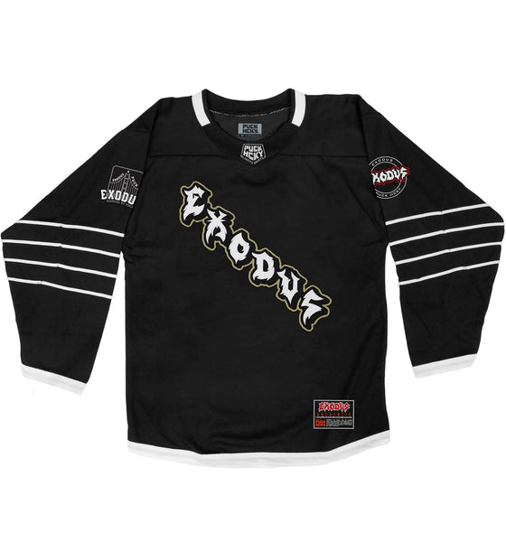 EXODUS 'GOOD FRIENDLY VIOLENT FUN' deluxe hockey jersey in black and white front view