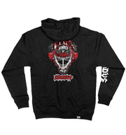 EXODUS 'MASK OF THE BEAST' full zip hockey hoodie in black back view