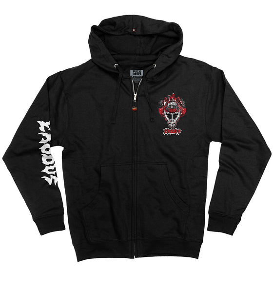 EXODUS 'MASK OF THE BEAST' full zip hockey hoodie in black front view