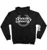 EXODUS 'OFFICIAL PUCK' full zip hockey hoodie in black back view