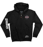EXODUS 'OFFICIAL PUCK' full zip hockey hoodie in black front view