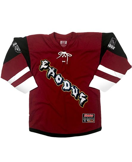 EXODUS 'PIRANHA' hockey jersey in maroon, black, and white front view