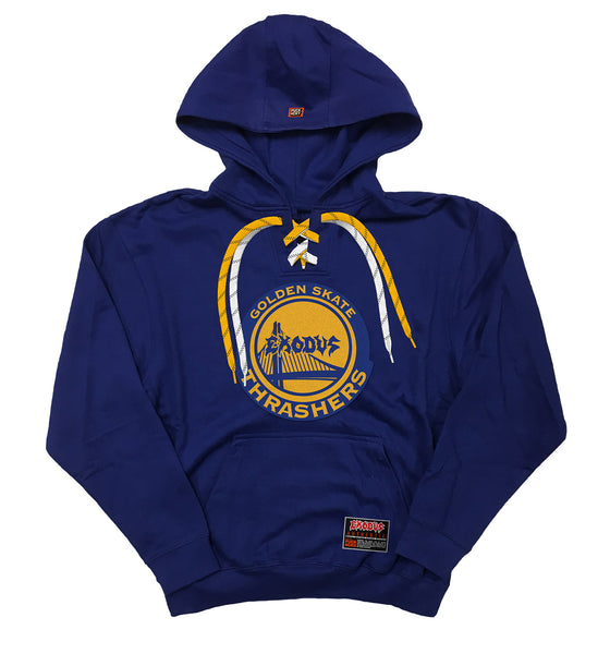 EXODUS 'THE WARRIOR' pullover hockey hoodie in royal blue with white and gold laces