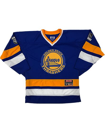 EXODUS 'THE WARRIOR' hockey jersey in royal, gold, and white front view