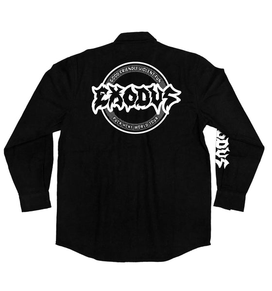 EXODUS 'TOXIC WALTZ' hockey flannel in solid black back view