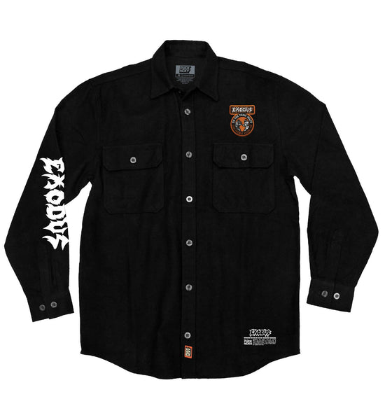 EXODUS 'TOXIC WALTZ' hockey flannel in solid black front view