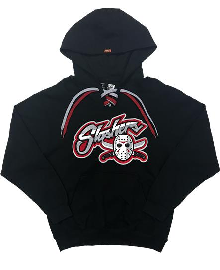 FIRST JASON 'BLADES' pullover hockey hoodie in black with red and silver laces