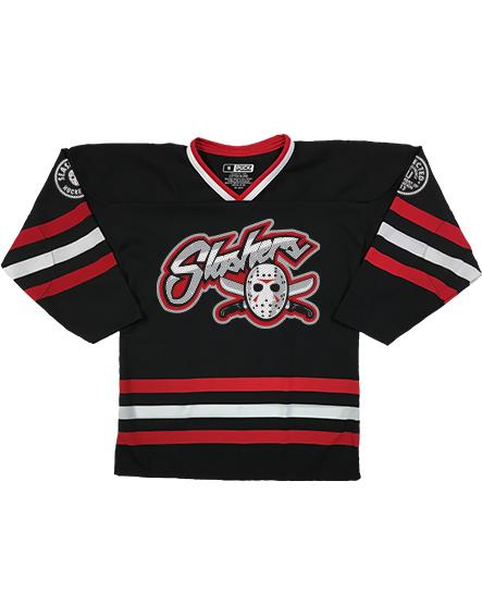 FIRST JASON 'BLADES' hockey jersey in black, red, and white front view