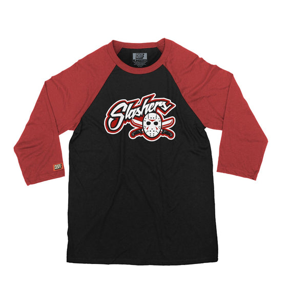 FIRST JASON 'BLADES' hockey raglan t-shirt in black/red front view