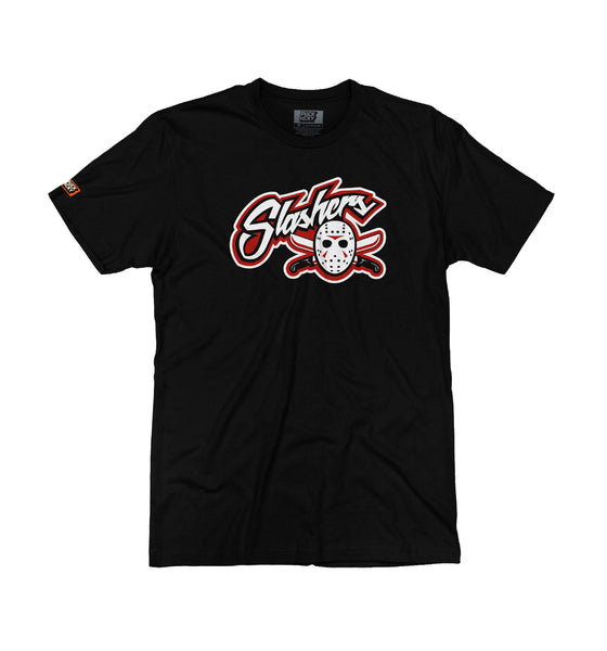 FIRST JASON 'BLADES' short sleeve hockey t-shirt in solid black front view