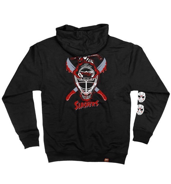 FIRST JASON 'SHUT OUT FROM LIFE' full zip hockey hoodie in black back view