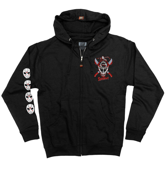 FIRST JASON 'SHUT OUT FROM LIFE' full zip hockey hoodie in black front view