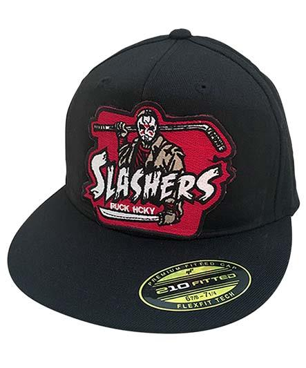 FIRST JASON 'SLASHERS' flat bill fitted hockey cap in black