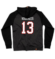FIRST JASON 'SLASHERS VOORHEES 13' pullover hockey hoodie in charcoal heather with black sleeves back view