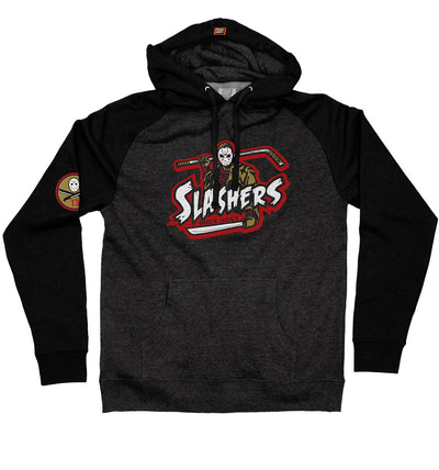 FIRST JASON 'SLASHERS VOORHEES 13' pullover hockey hoodie in charcoal heather with black sleeves front view