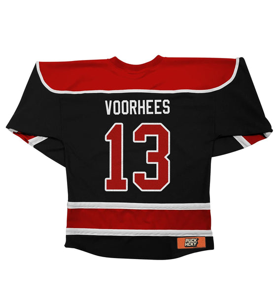 FIRST JASON 'SLASHERS' hockey jersey in black, red, and white back view