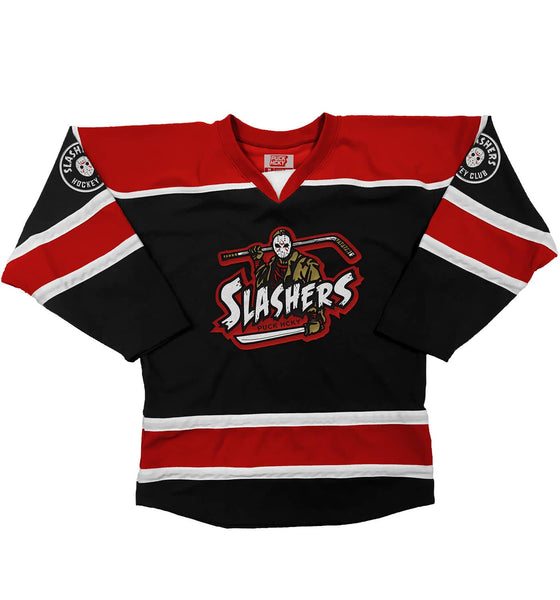 FIRST JASON 'SLASHERS' hockey jersey in black, red, and white front view