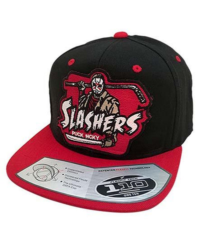 FIRST JASON 'SLASHERS' snapback hockey cap in black with red brim