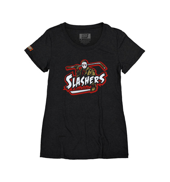 FIRST JASON 'SLASHERS VOORHEES 13' women's short sleeve hockey t-shirt in charcoal black front view