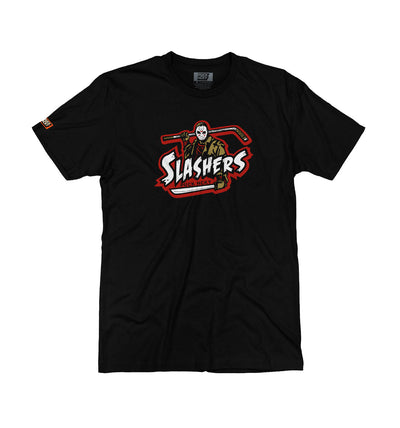 FIRST JASON 'SLASHERS VOORHEES 13' short sleeve hockey t-shirt in black front view