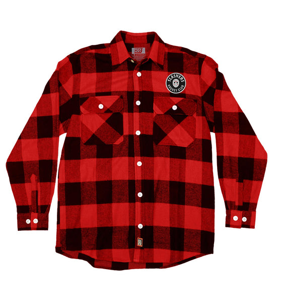 FIRST JASON 'SLASHING MAJOR' hockey flannel in red plaid