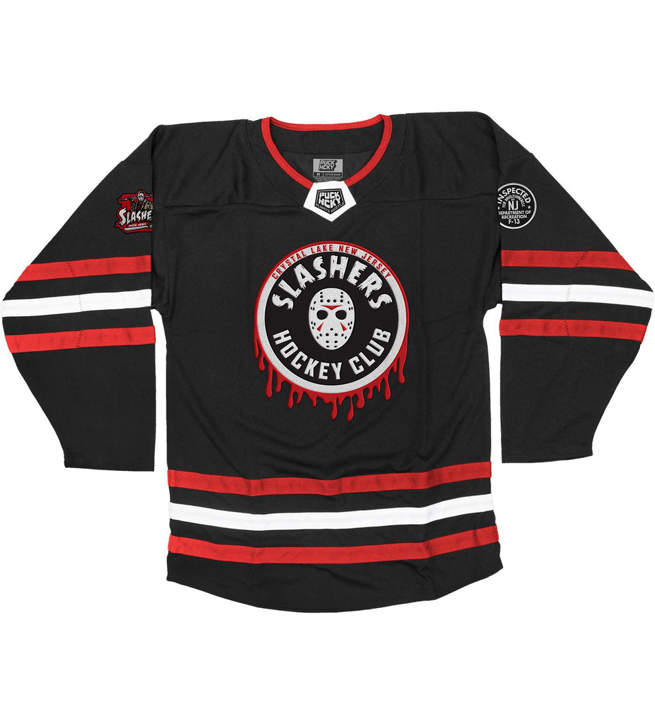 FIRST JASON 'SLASHING MAJOR' hockey jersey in black, red, and white front view