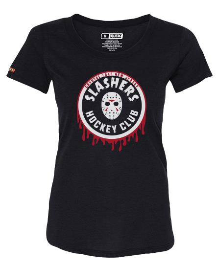 FIRST JASON 'SLASHING MAJOR' women's short sleeve hockey t-shirt in solid black front view