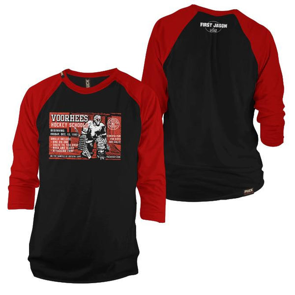 FIRST JASON 'TERRIFIC FUN' hockey raglan t-shirt in black/red front and back view
